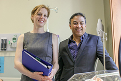 Post-doc Daphne McRae and Nazeem Muhajarine recently published a new study in the BMJ Open that introduces new evidence to the benefits of midwifery. Photo by the U of S (via Twitter)