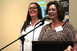 SPHERU's Sylvia Abonyi and Kathleen McMullin emcee the closing symposium at Wanuskewin Park on June 13.