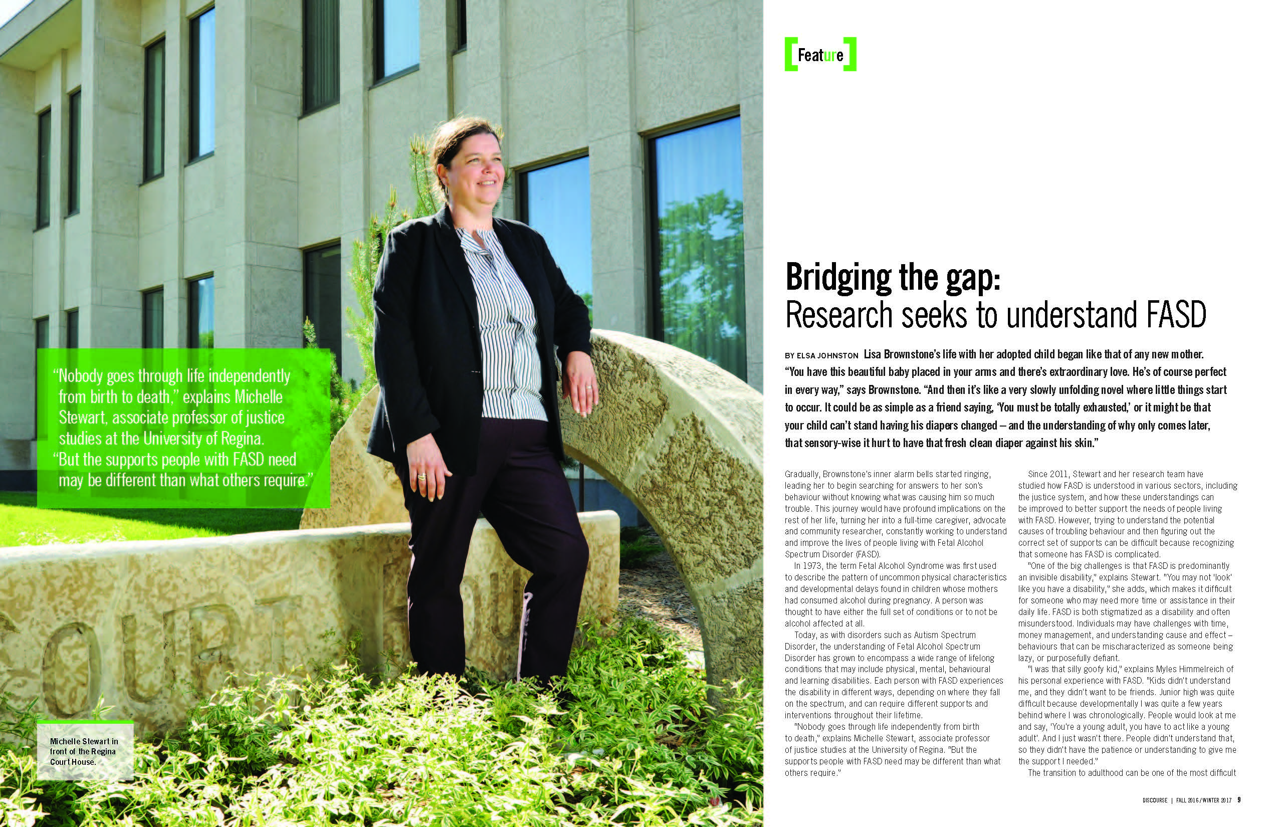 SPHERU's Dr. Michelle Stewart was featured in the University of Regina's first issue of their new research magazine Discourse.