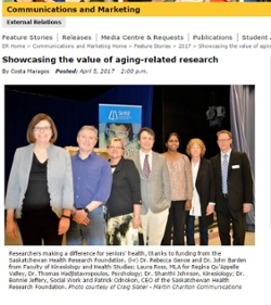 SPHERU faculty Dr. Shanthi Johnson and Dr. Bonnie Jeffery were among the researchers, who have received SHRF funding, recognized for their contributions and work towards seniors' health and aging-related health research. Courtesy of the University of Regina.