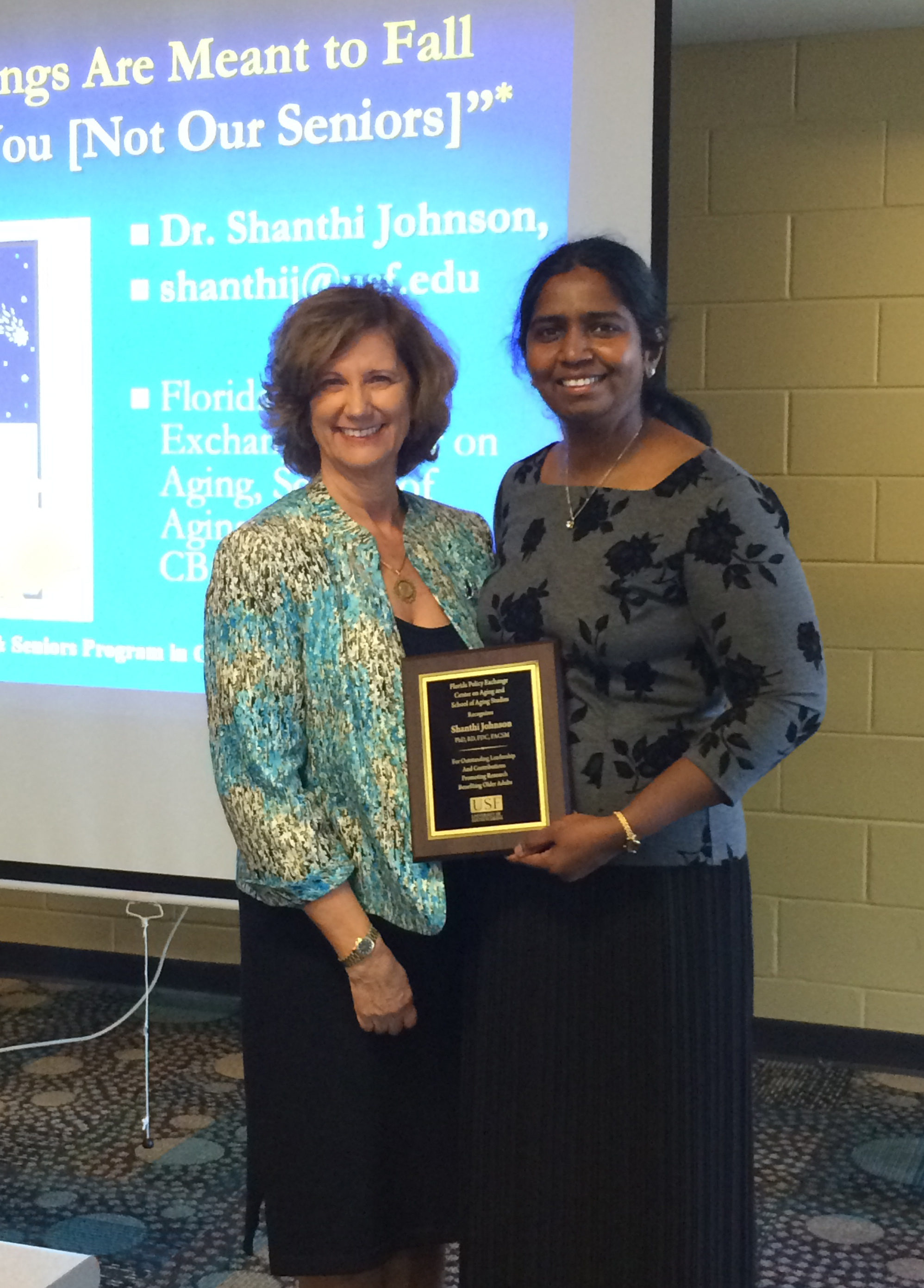 The Florida Policy Exchange Center on Aging's Dr. Kathryn Hyer with Dr. Shanthi Johnson