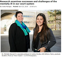 Dr. Michelle Stewart and Brittany Mario. Courtesy of University of Regina website.